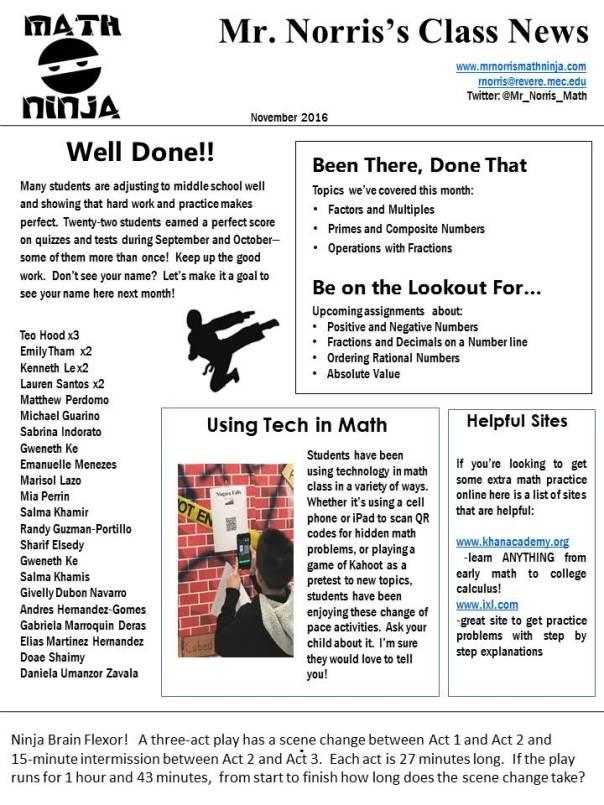 November Newsletter | Mr. Norris\'s Math Class